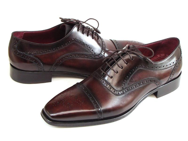 Men Fashion - Paul Parkman Men's Captoe Oxfords Bordeaux & Brown Hand-Painted