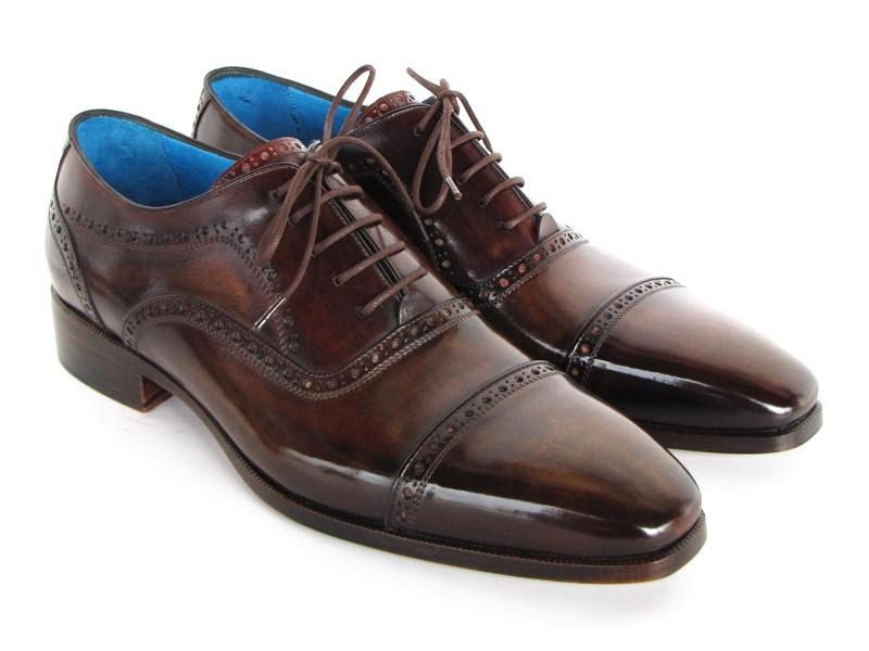 Men Fashion - Paul Parkman Men's Captoe Oxfords Anthracite Brown Hand-Painted Leather