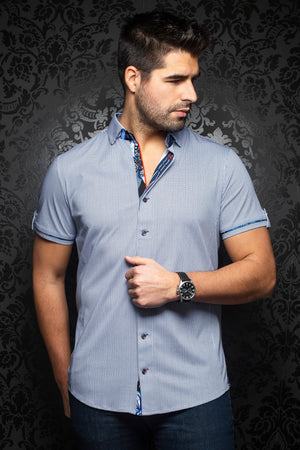 Au Noir Stretch Short Sleeve Shirt | Valdes White Blue