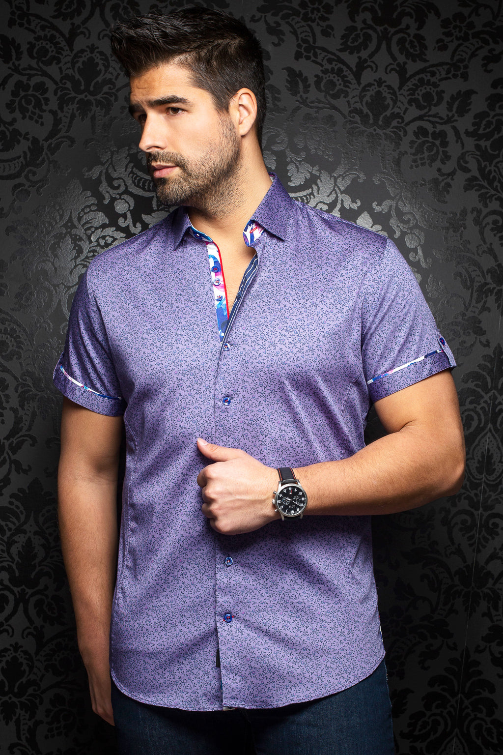 Au Noir Short-Sleeve Shirt | Zolo Purple