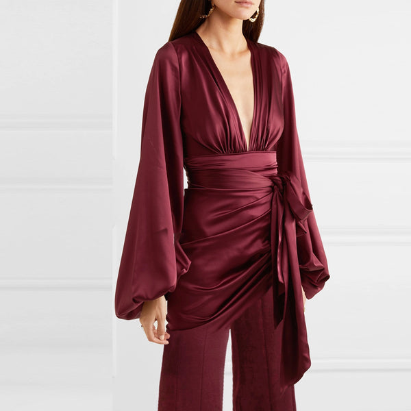 Elegant V-neck Twisted Wine Red Jumpsuit