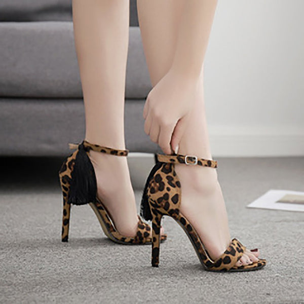Leopard pattern European and American code fine height and open-toed sandals