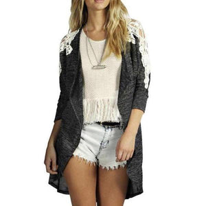 Long Sleeve Lace Patchwork Cardigan
