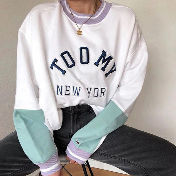 Women's Casual Color Matching Round Neck Long-Sleeved Sweater