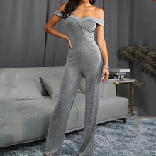 Load image into Gallery viewer, Commuting Bare Back Splicing Boat Neck Off-Shoulder Jumpsuit
