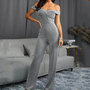 Commuting Bare Back Splicing Boat Neck Off-Shoulder Jumpsuit