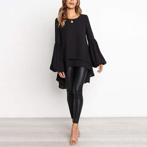 Casual Pure Color Slim Hubble Bubble Sleeve Irregular Hem T-Shirt