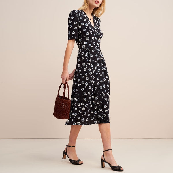 Casual V-Neck Flared Floral Short-Sleeved Midi dress