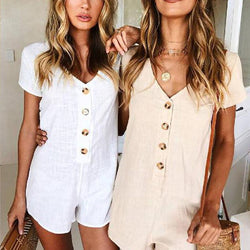 Solid Short Sleeve Button Romper