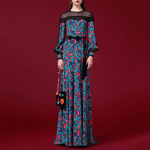 Women's Elegant Printed Color High-waist Bowknot Maxi Dress