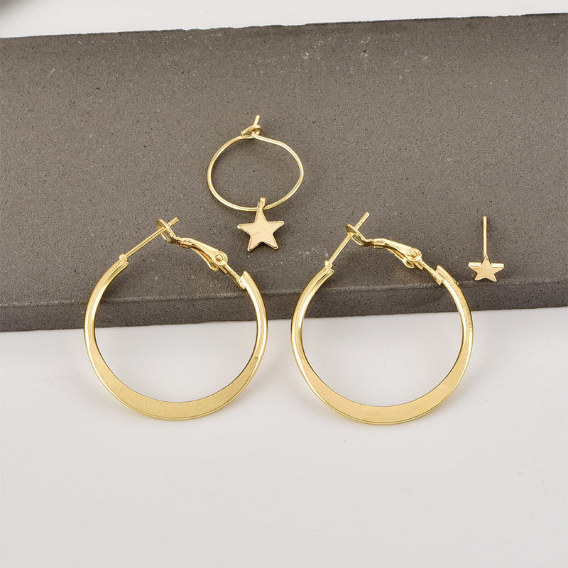 Pentagram Earrings Round Earrings Earrings Combination