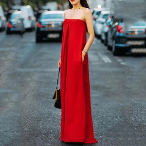 Fashion Off-Shoulder Pure Colour Sleeveless Jumpsuit