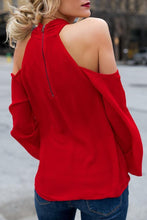 Load image into Gallery viewer, Open Shoulder  Cutout  Plain Blouses