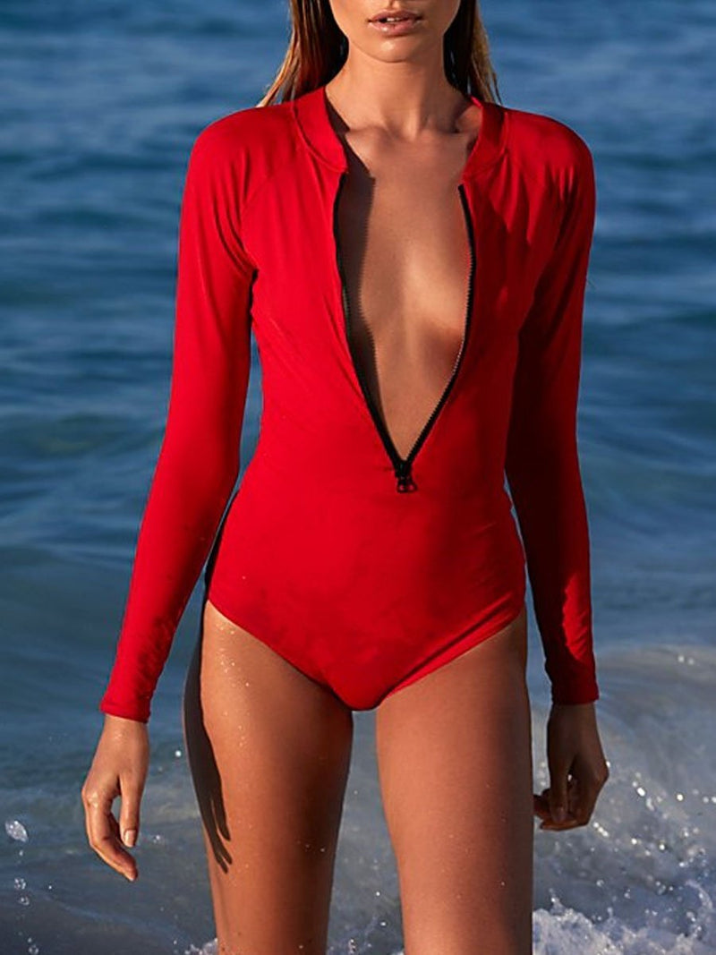 V-Neck  Zips  Plain One Piece
