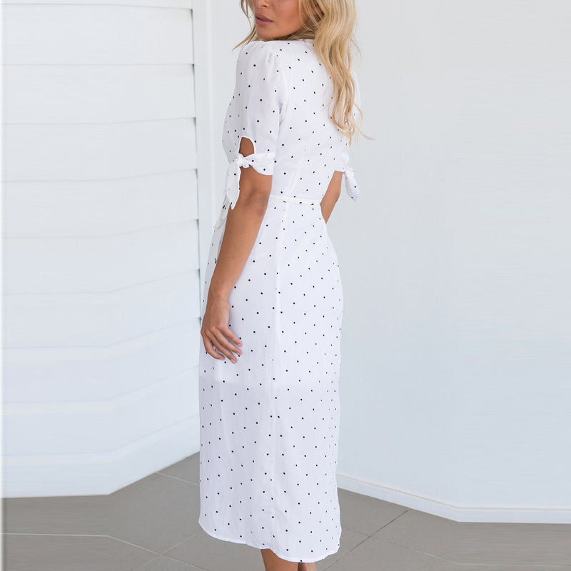 Bohemia V Collar Polka Dot Irregular Short Sleeve Vacation Dress