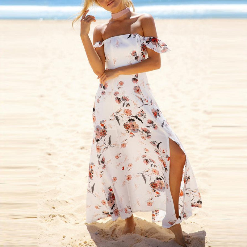 Sexy Off-Shoulder Printing Split Beach Vacation Dress