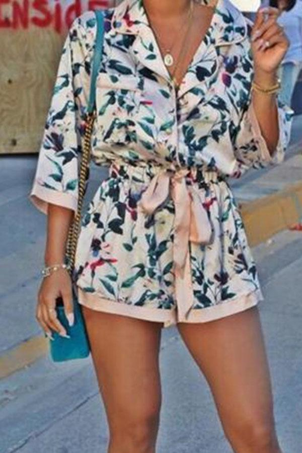 Contrast Binding Print Belted Casual Romper