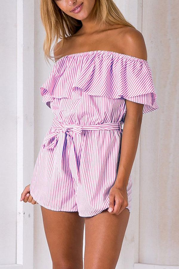 Sexy Off Shoulder Flared Bowtie Romper