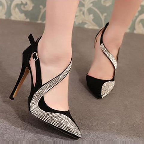 Fashion Rhinestone Slim High Heel Shoes