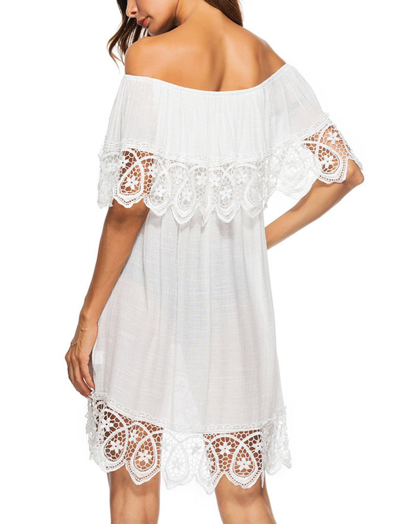 Off Shoulder  Decorative Lace  Plain Casual Dresses