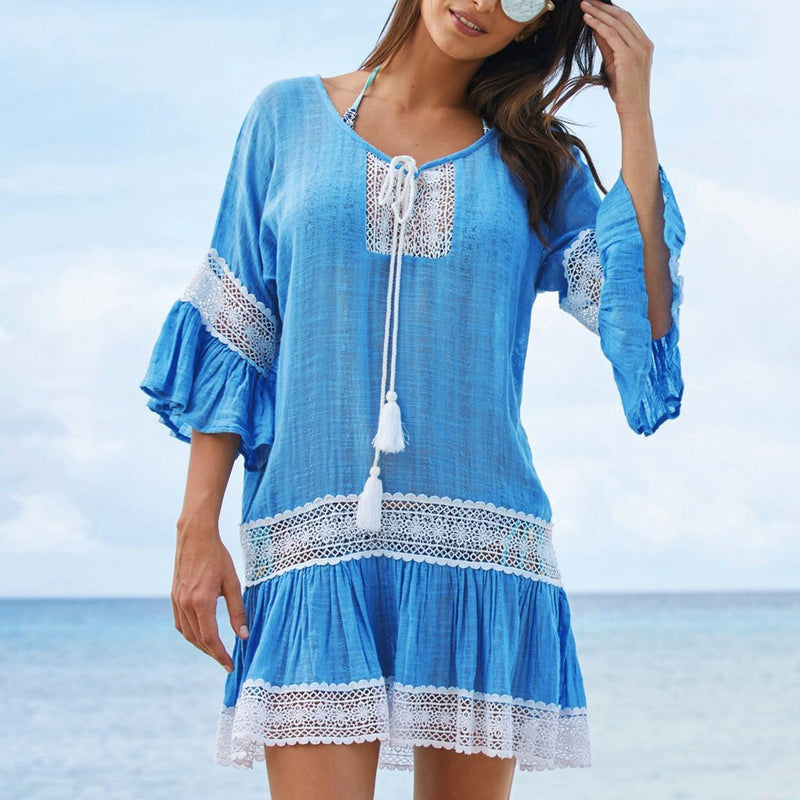 Casual Pure Color Bamboo Cotton Loose Beachwear