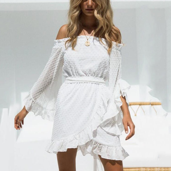 Sexy Flounce Off Shoulder Long Sleeves Mini Dress