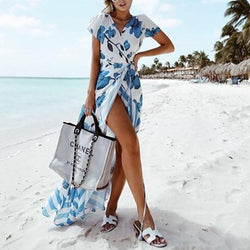 Sexy V Collar Printing Short Sleeve Irregualr Beach Vacation Dress