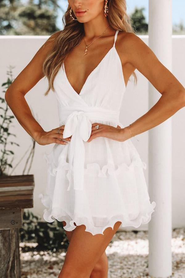 Sexy Sleeveless White Flounce Mini Dress