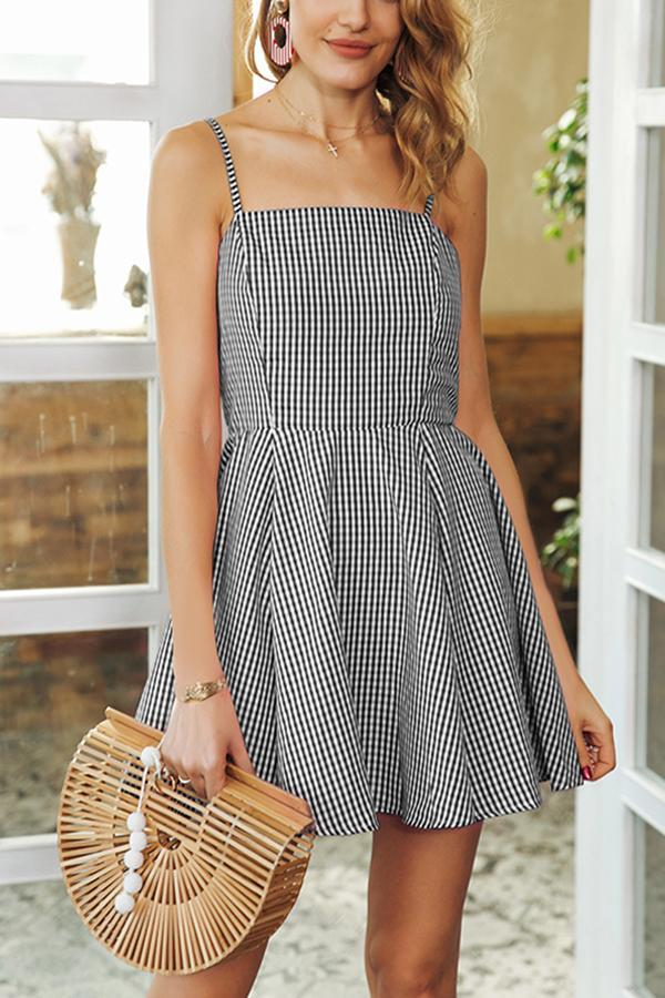 Elegant Sexy Sleeveless Grid Mini Dress