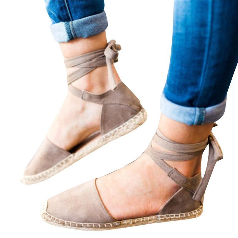 Ankle Wrap Espadrille Flat Sandals