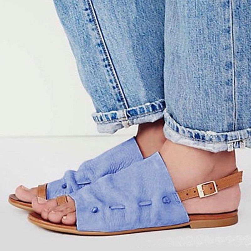 Color Block  Flat  Peep Toe  Casual Flat Sandals
