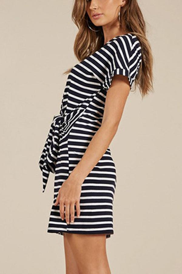 Fashion Short Sleeves Stripe Mini Dress