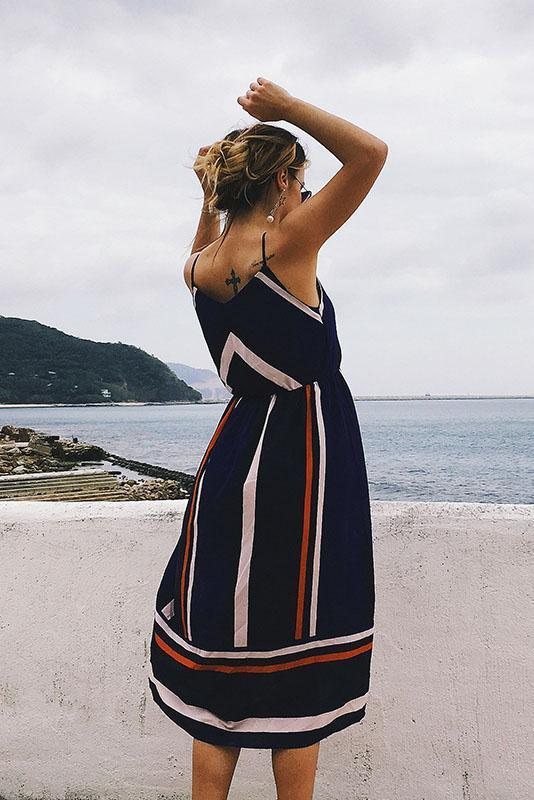 Fashion Stripe Summer Color Blocking Beach Shift Dress