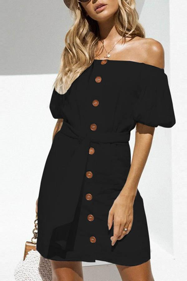 Off Shoulder Sexy Button Mini Dress