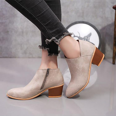 Early Autumn Fashion Simple Thick Heel Martin Boots