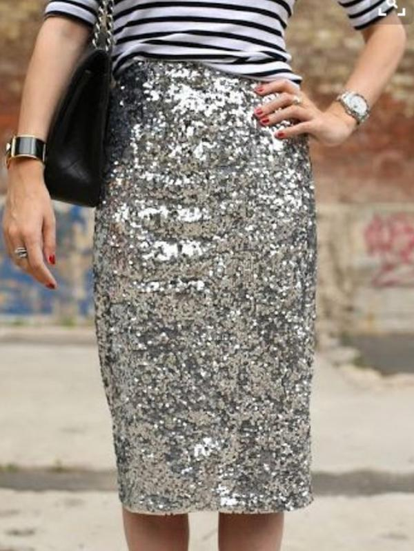 Silver Sexy Sequined Bodycon Skirt