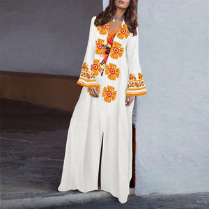 V-Neck Tassel Printed Cotton/Linen Maxi Dress