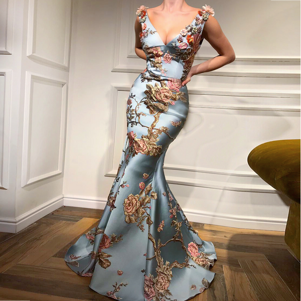 Sexy Deep V Collar Embroidery Floral Printed Fishtail Evening Dress