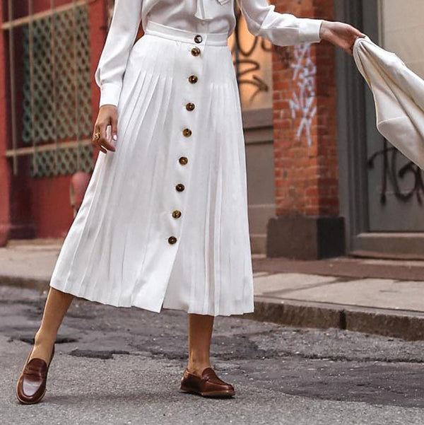 Button Large Swing White Skirt