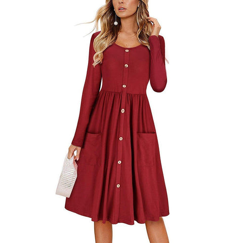 Button Pocket Round Neck Solid Color Long Sleeve  Casual Dress