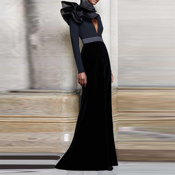 Deep V High-Waisted Long Dress For Autumn And Winter