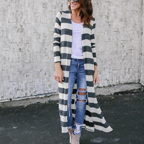 Long Printed Striped Cardigan Coat Trench Coat