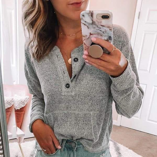 Solid V-Neck Long Sleeve T-Shirt