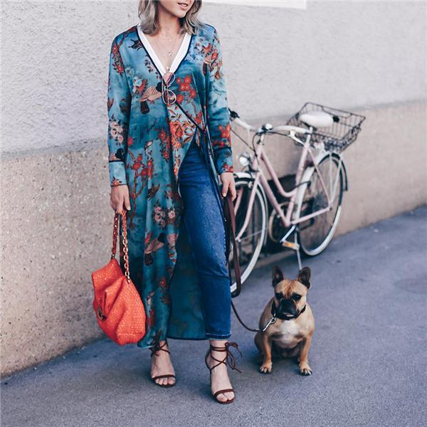 Vacation Stylish Elegant Slim Floral V Collar Long Sleeve Cardigan