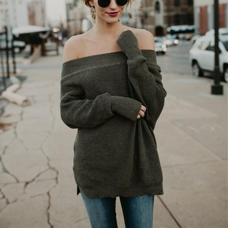 Loose Fashion Sexy Open-Shouldered Sweater