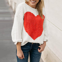 Casual Boat Neck Colored Heart Sweater