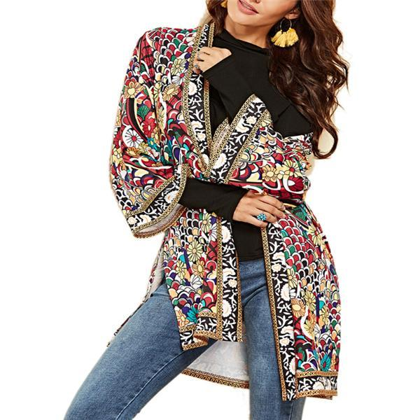 Vacation Casual Fashion Loose Floral Long Sleeve Cardigan