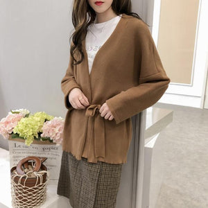 Simple Long Sleeves Bow Slim Knitted Cardigan
