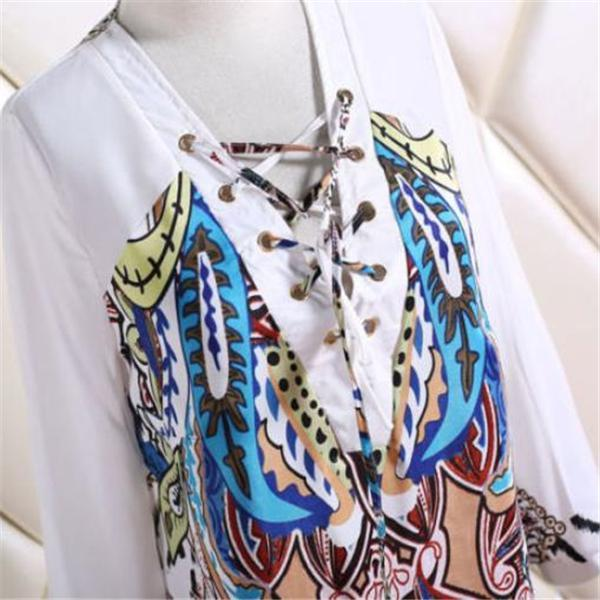 Vacation Fashion Casual Slim Floral Long Sleeve Shift Dress
