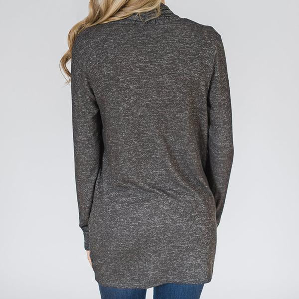 Fashion Loose Pocket Grey Knit   Cardigan